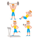 Young man doing sport exercises, training, weightlifting, doing sit-ups Stock Image