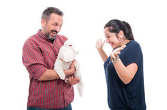 Young man doing a surprise to his girlfriend Royalty Free Stock Photo