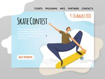 A young man doing a trick on a skateboard. The skate contest. Vector illutration, design template of sport site, header. A young man doing a trick on a Royalty Free Stock Photos