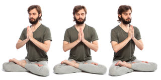 Young man doing yog. Horizontal assembly of the three photos of a young man doing yoga Stock Photography