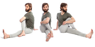 Young man doing yog. Horizontal assembly of the three photos of a young man doing yoga Stock Photos