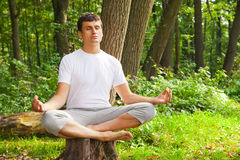 Young man doing yoga (lotus pose) in the park Stock Photo