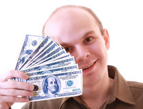 Young man with dollars isolated Royalty Free Stock Photo