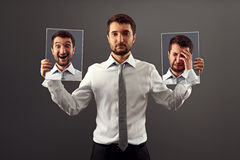Man do not showing his emotions. Young man dont showing his emotions Royalty Free Stock Image