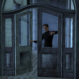 Young man at the doorway Stock Images