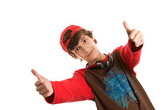 Young man with double thumbs up Stock Images