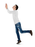 Young man drag something. Isolated young man drag something Stock Image