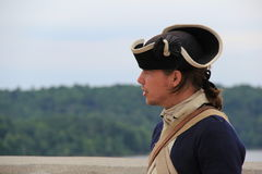 Young man dressed as soldier,Fort Ticonderoga,2014 Royalty Free Stock Photo