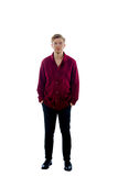 Young man dressed in a maroon sweater Royalty Free Stock Photos