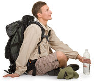 Young man dressed in a tourist Stock Image
