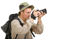 Young man dressed in a tourist royalty free stock photography