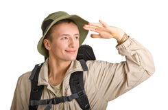 Young man dressed in a tourist Stock Photos
