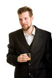 Young man with drink Royalty Free Stock Image