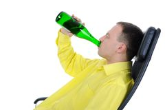 Young man drinking alcohol. Royalty Free Stock Photography