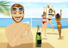 Young man drinking champagne in front of girls playing beach volleyball Royalty Free Stock Photography