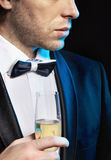 Young man drinking a champagne Royalty Free Stock Photo
