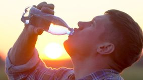 Young man drinking clear water from a plastic bottle in nature at wheat field. Man having water break at sunset outdoors stock video