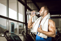 Young man drinking water in gym stock images