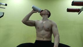 Young man drinking water in the gym. The guy uses a protein shake stock video