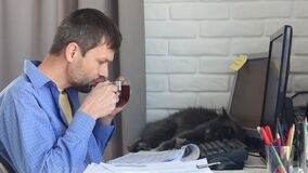 A young man drinks tea from a mug, works at home, a cat lies and yawns in the background