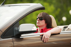 Young man driving a car Royalty Free Stock Photography