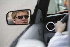 Young Man Driving Car Stock Photos