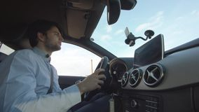 Young Man Is Driving A Car stock video
