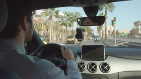 Young Man Is Driving A Car stock video footage