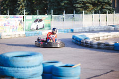 Young Man Is Driving Go-Kart Stock Image