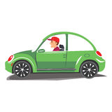 Young man driving green car. Vector illustration of a cheerful man driving on isolated background.  Stock Photos