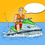 Young Man Driving Jet Ski. Extreme Water Sports. Pop Art illustration Royalty Free Stock Photos