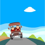 Young man driving Philippine Jeepney. Philippine jeep or jeepney is the most popular means of public transportation in the Philippines stock illustration