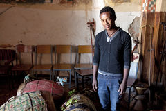 A Young man with drums, Ethiopia Royalty Free Stock Images