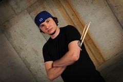 Young Man With Drumsticks Royalty Free Stock Photography
