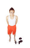 Young man with dumbbells Stock Photo