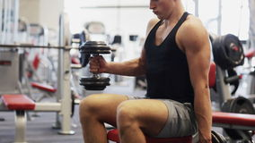 Young man with dumbbells in gym. Sport, bodybuilding, lifestyle and people concept - young man with dumbbells flexing muscles in gym stock video footage