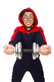Young man with dumbbells isolated on white Royalty Free Stock Image