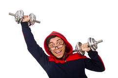 Young man with dumbbells isolated on white Stock Photos