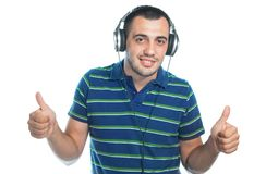 Young man with earphones Royalty Free Stock Photos