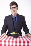 Young man eating. Salad Stock Images