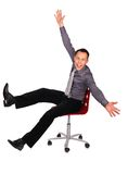 Young man elated. On white Stock Photo