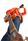 Young man with electric guitar drinking alcohol Stock Image