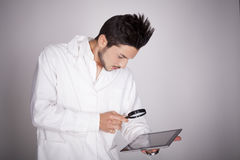 Young man electronic technical Stock Photo