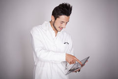 Young man electronic technical Stock Image