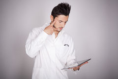 Young man electronic technical Royalty Free Stock Photo