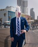 Young man in elegant suit stands on the city waterfront Royalty Free Stock Photos