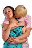 Young man embrace girl from behind Stock Photos