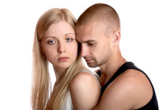 Young man embraces the girl Stock Photography
