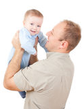 Young man is embracing his baby. Father with his baby on white background Stock Images