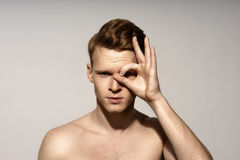 Young man emotional portrait Royalty Free Stock Image